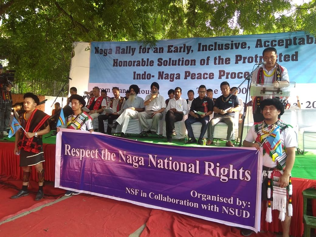Naga leaders addressing a public gathering on the embroiling 'Naga political issue' in New Delhi on Wednesday