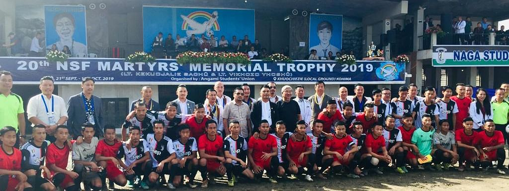 YRS adviser Zale Neikha along with other officials, players and referees during the opening day of the 20th NSF Martyr's Memorial Trophy