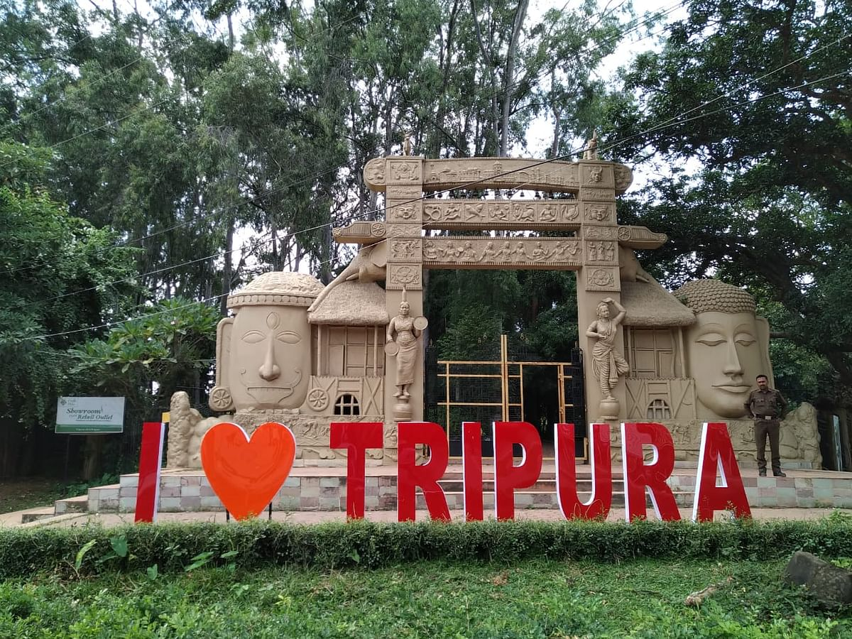 Signage installed in front of Agartala Heritage Park on Sunday