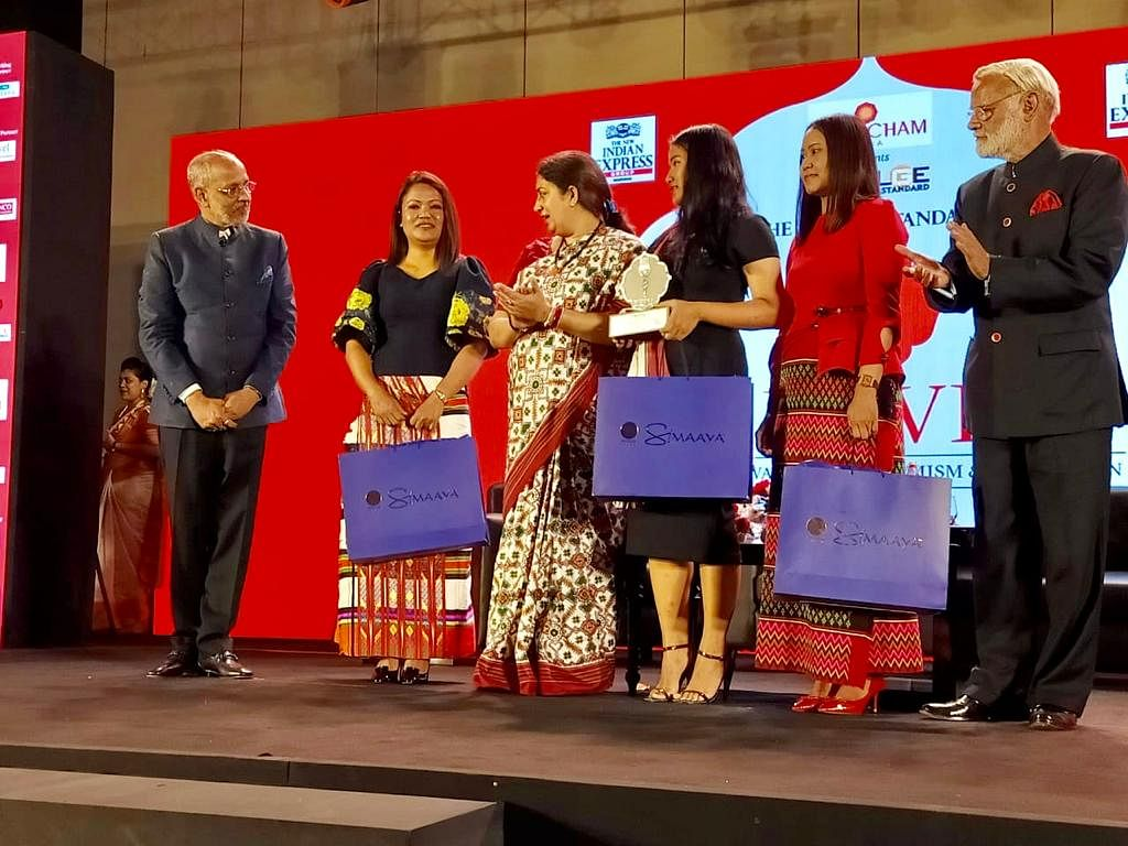 The three sisters -- Ladinsangi, Lalsangzeli & Lalrinpuii -- receiving the Devi Awards in Kolkata recently for their contribution to the fashion industry in Mizoram