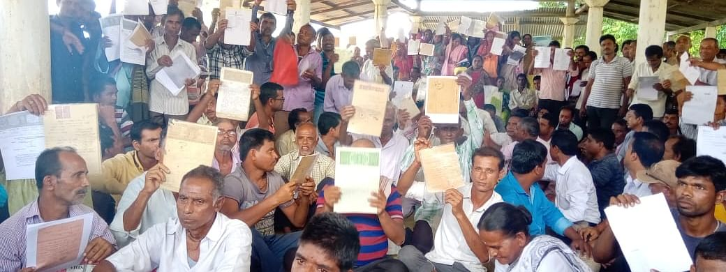 Villagers, whose names have been left out from final NRC, stage protest in Nagaon, Assam on Thursday