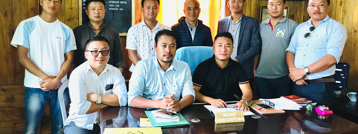 Office bearers of Angami Students' Union (ASU) along with senior leaders at their office in Kohima on Friday