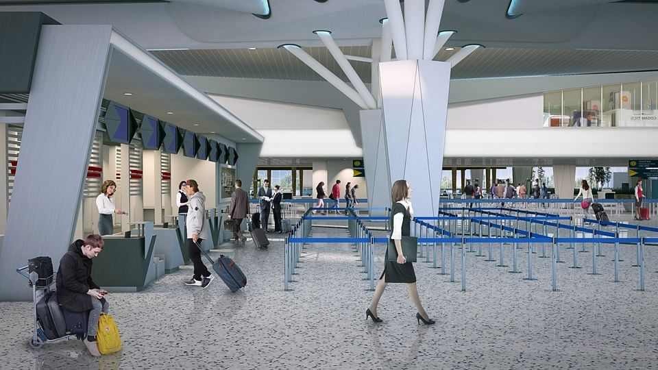 The new terminal building will house 10 passenger boarding bridges, 25 lifts, 10 elevators and two travellators