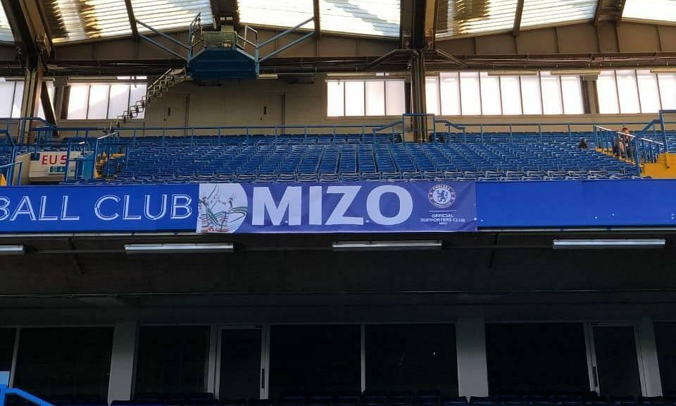 Mizo Chelsea FC fan club's banner displayed at Stamford Bridge
