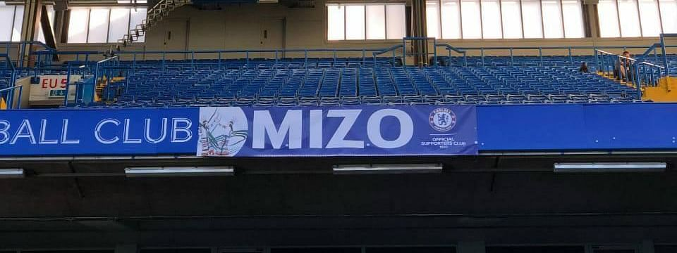 Mizo Chelsea Supporters' Club banner prominently displayed at Stamford bridge