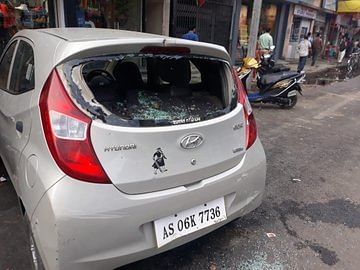 The other car that was vandalised during a Muharram procession in Dibrugarh on Tuesday
