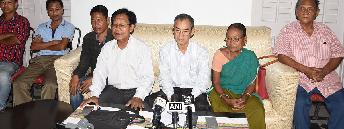 Senior leaders of Tripura Congress after resigning from the party; they are likely to to form an independent party