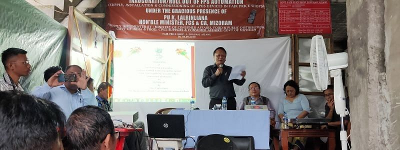 Mizoram food civil supplies and consumer affairs minister K Lalrinliana speaking on the occasion