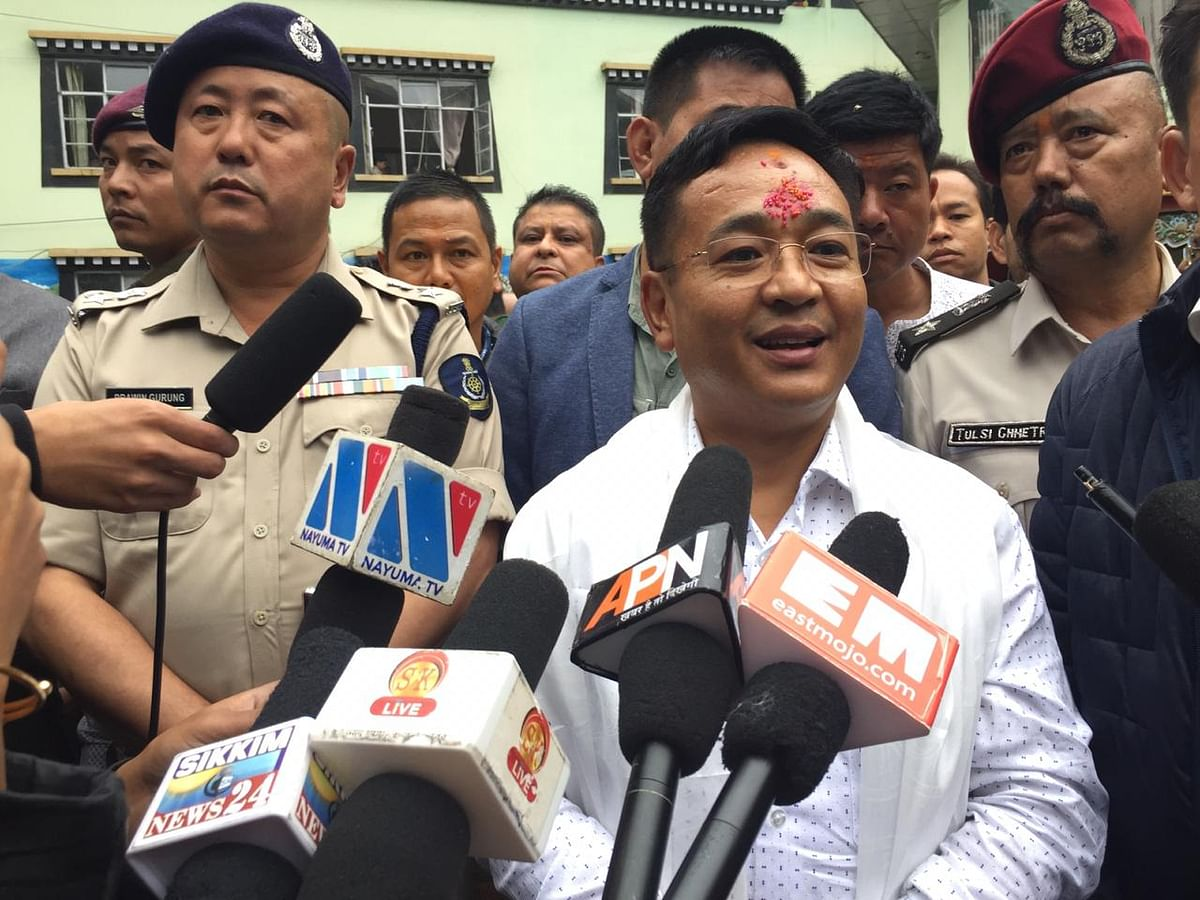 Hamro Sikkim Party's Biraj Adhikari and Bhaichung Bhutia addressing a press conference in Gangtok on Friday