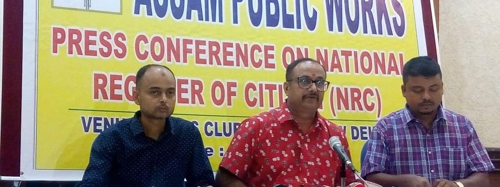 Addressing media persons in New Delhi on Tuesday, APW president Abhijit Sarma (centre) demanded that illegal immigrants staying in Assam must be punished under the current laws of the land