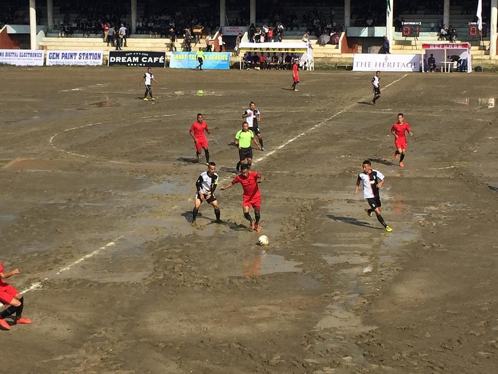 Players in action during the match played between Centurion FC and Poimi Students' Union Kohima during the20th Naga Students' Federation (NSF) Martyrs' Trophy at the Kohima Local Ground