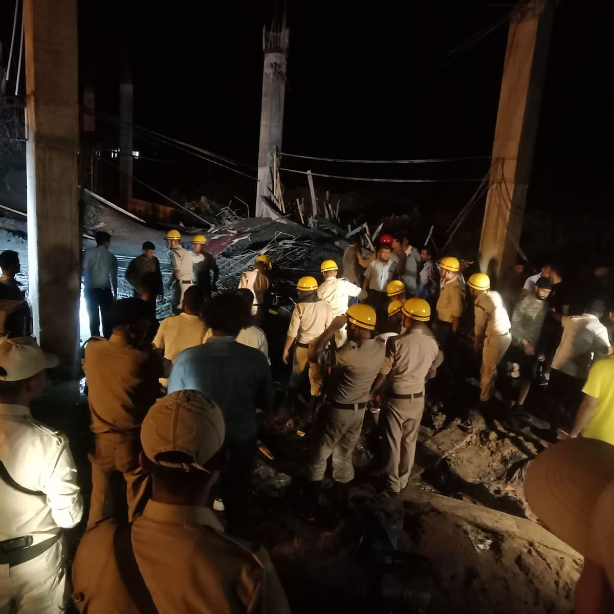 At least 10 persons were injured when a portion of an under-construction building collapsed at the Imphal International Airport in Manipur on Wednesday evening