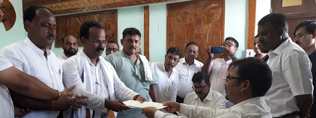 Congress candidate Ratan Das filing his nomination papers in West Tripura district magistrate's office for the forthcoming by-elections for Badharghat constituency