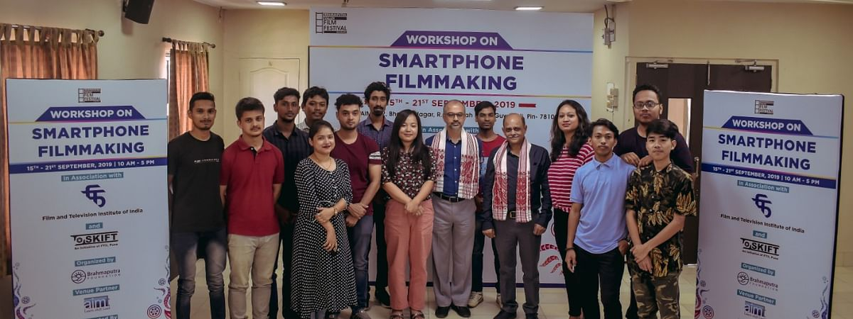 The attendees of the smartphone filmmaking workshop along with FTII director Bhupendra Kainthola and course director Ajmal Jami in Guwahati