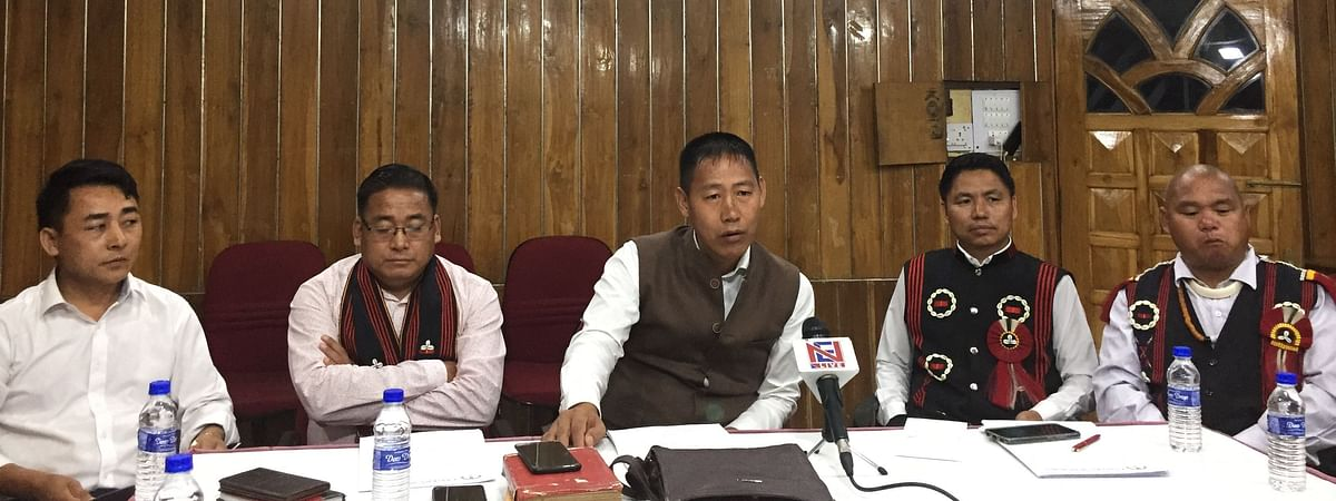 Eastern Sumi Hoho (ESH) officials addressing media persons in Kohima on Monday