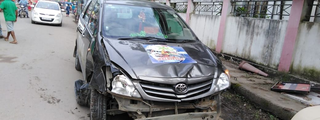 The vehicle that was involved in the accident in Assam's Tinsukia town on Saturday morning