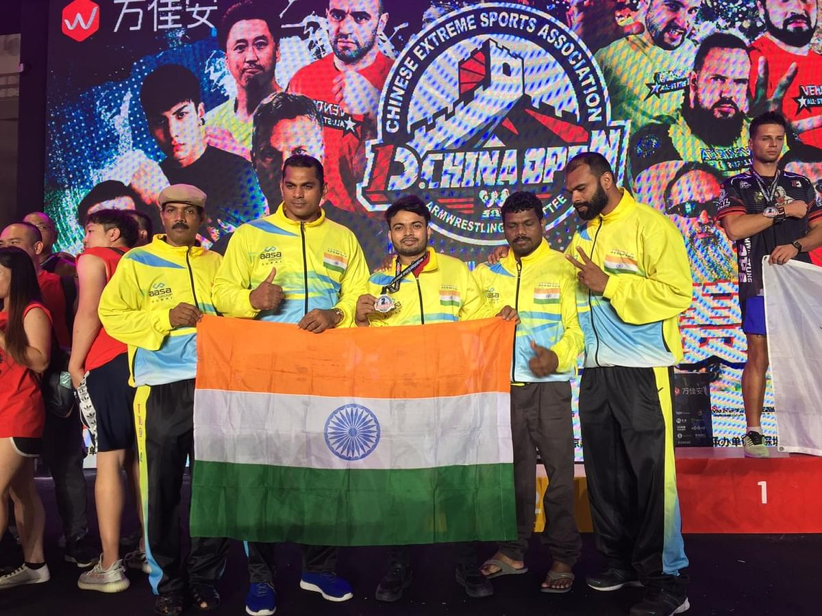 Team India in D.1 Armwrestling China Open tournament held in Shenzen, China recently