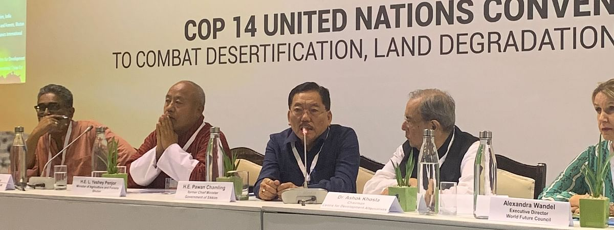 Former Sikkim CM Pawan Kumar Chamling addressing the 14th session of the conference of the parties of the UNCCD in New Delhi