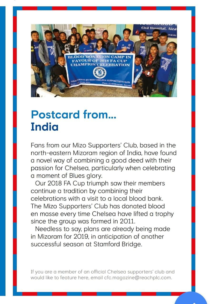 Mizo Chelsea fan group featured in Chelsea FC's official magazine