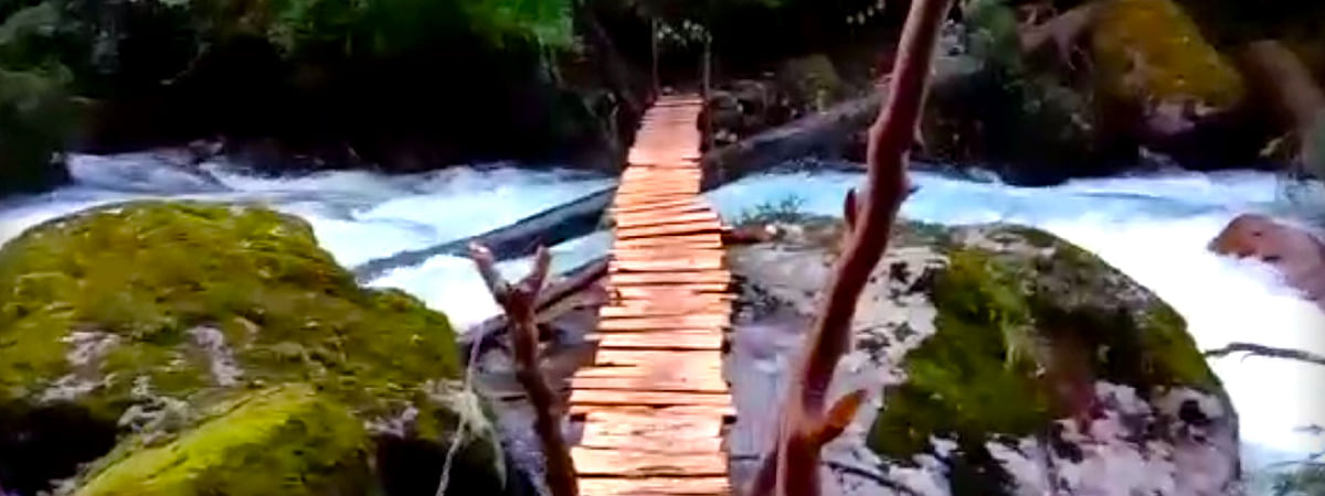 The wooden bridge built on Diomru Nalah in Chaglagam area along Indo-China border