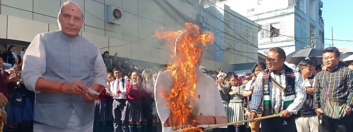 Students burn effigies of PM Narendra Modi and then home minister Rajnath Singh in protest against Citizenship (Amendment) Bill in January this year