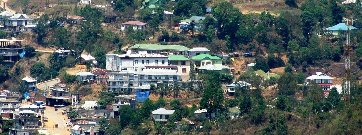 A partial view of Serchhip town in Mizoram