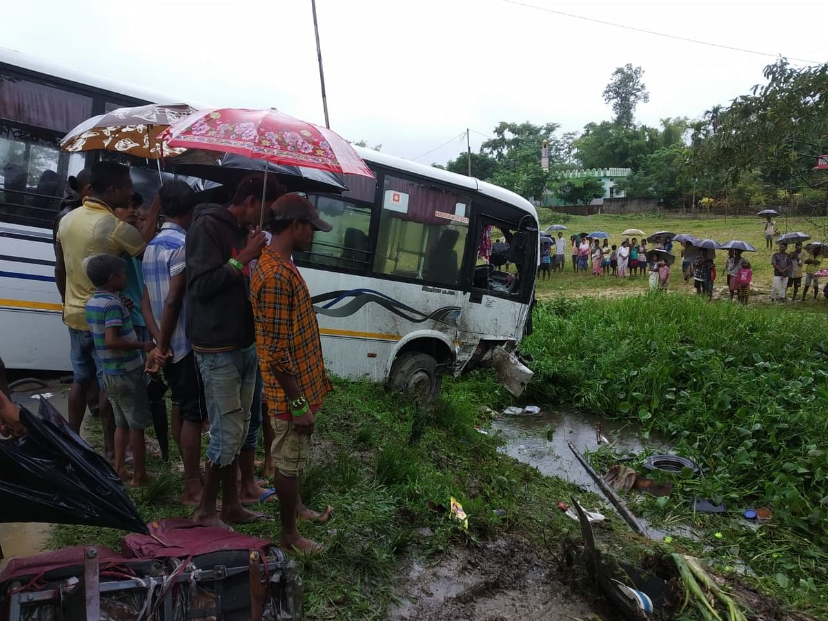 One of the ill-fated vehicles involved in the accident in Assam's Sivasagar district