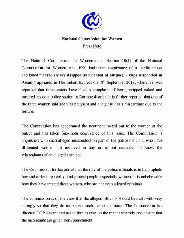 Copy  of letter issued by the National Commission of Women