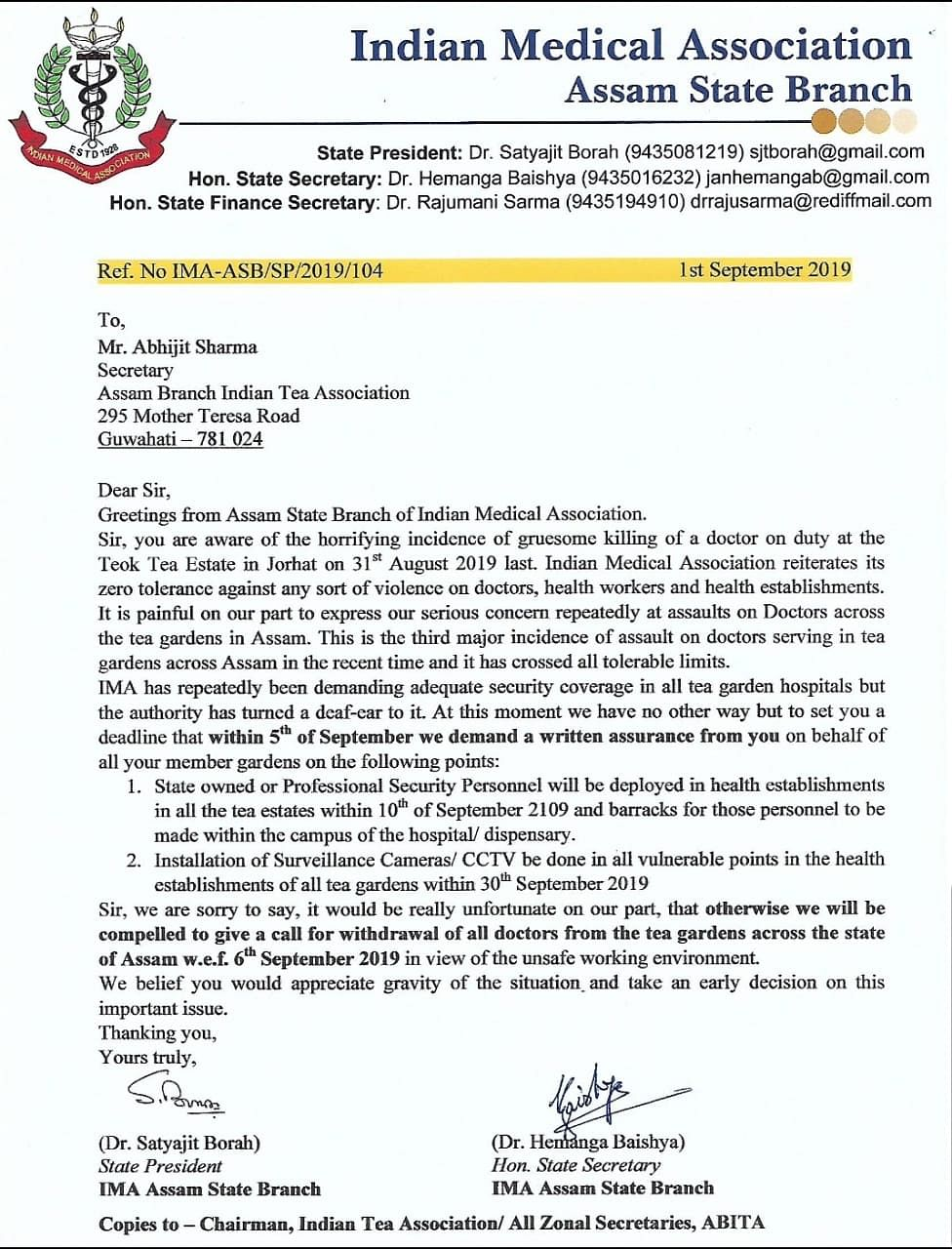 The letter written by the Indian Medical Association Assam state branch to Assam Branch Indian Tea Association on Sunday