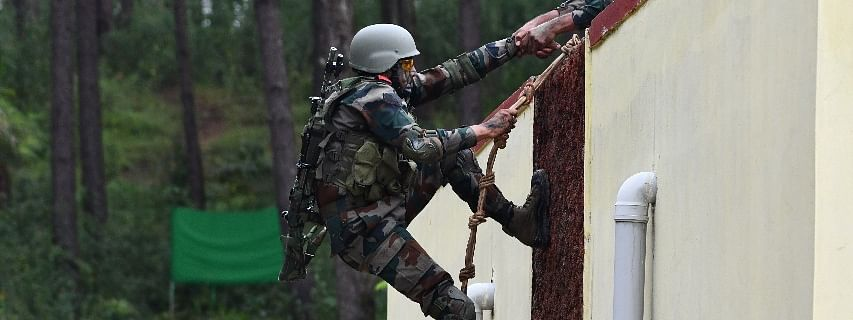 Soldiers of the Indian Army and Royal Thailand Army taking part in a drill as part of Maitree 2019 at Umroi military station in Meghalaya
