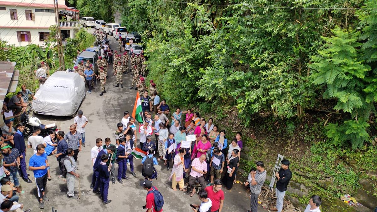 Villagers along with students staging a protest at Samdur village in Sikkim