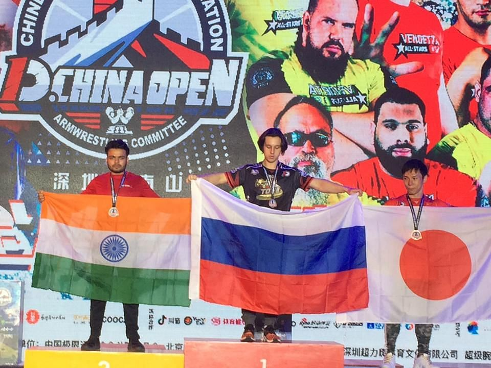While Russia bagged the gold, India and Japan clinched the silver and bronze medals in the 63-kg senior men's category of D.1 Armwrestling China Open held in Shenzen recently
