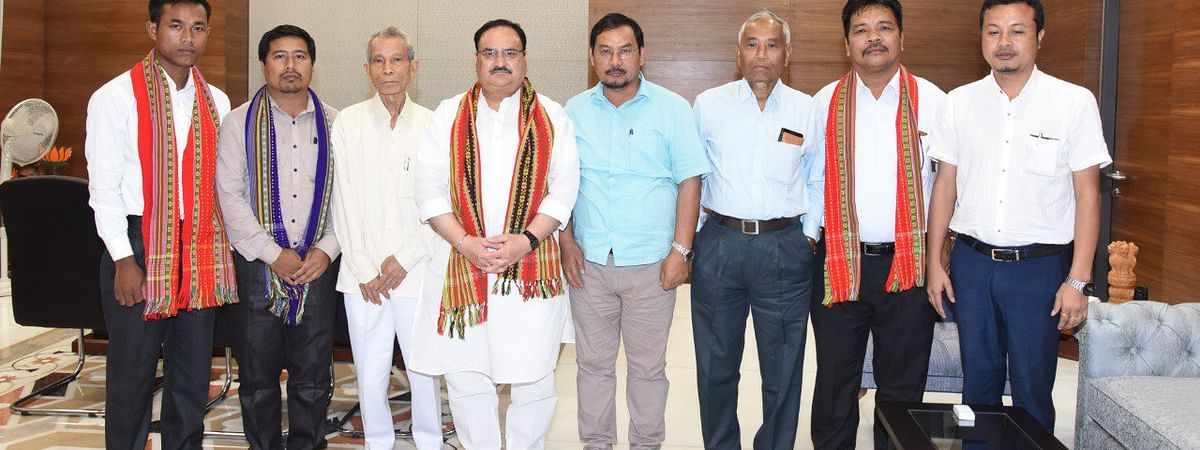 The IPFT delegation with BJP working president JP Nadda in New Delhi