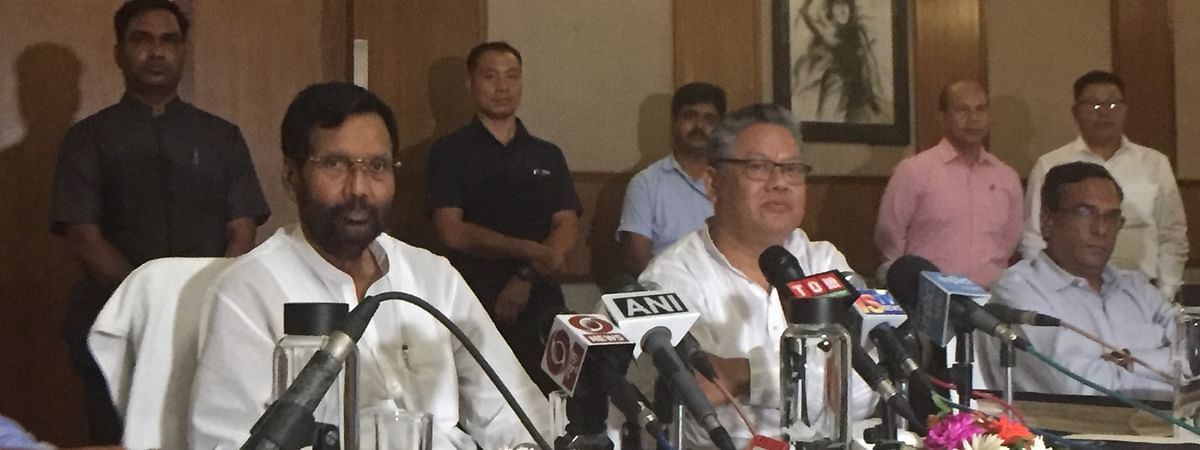 Union minister Ram Vilas Paswan during a press conference in Imphal