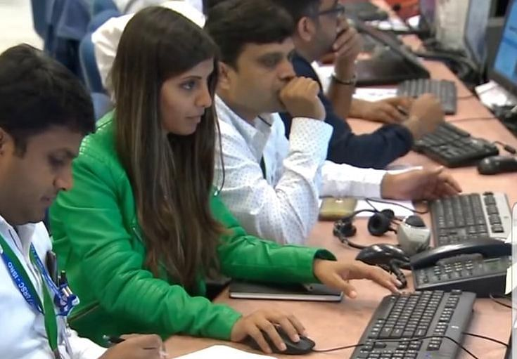 ISRO scientist Nidhi Sharma during Chandrayaan-2 rover's soft-landing attempt on the moon on Saturday