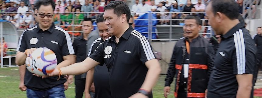 Arunachal Pradesh CM Pema Khandu kicking off the 25th edition of Senior Women's National Football Championship 2019 in Pasighat on Tuesday