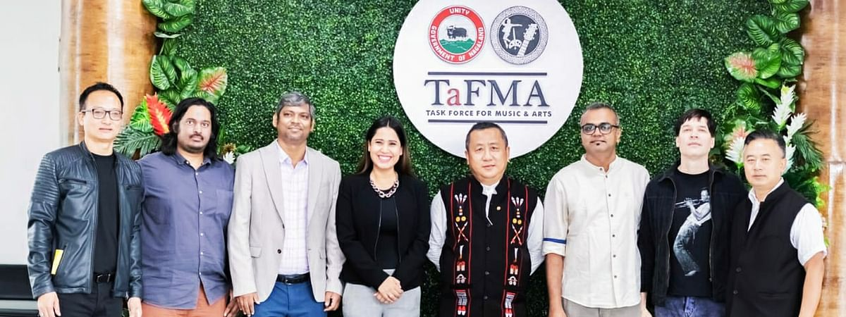 Nagaland chief secretary Temjen Toy (fourth from right) along with TaFMA adviser Theja Meru (extreme left), project director Hovithal Sothu (extreme right) and the guest speakers on the first day of 'ThinkFest' in Kohima