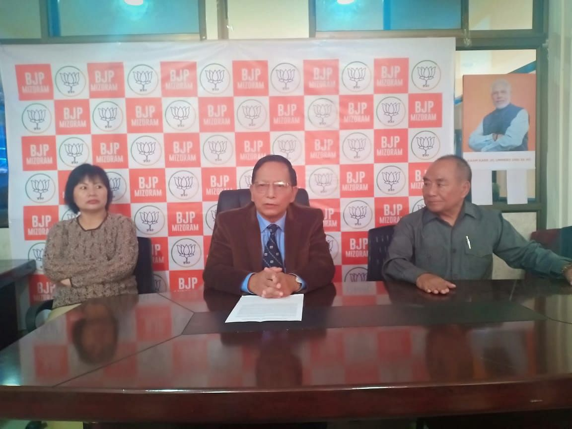 Mizoram BJP leaders at a press conference held at Atal Bhavan in Aizawl on Monday