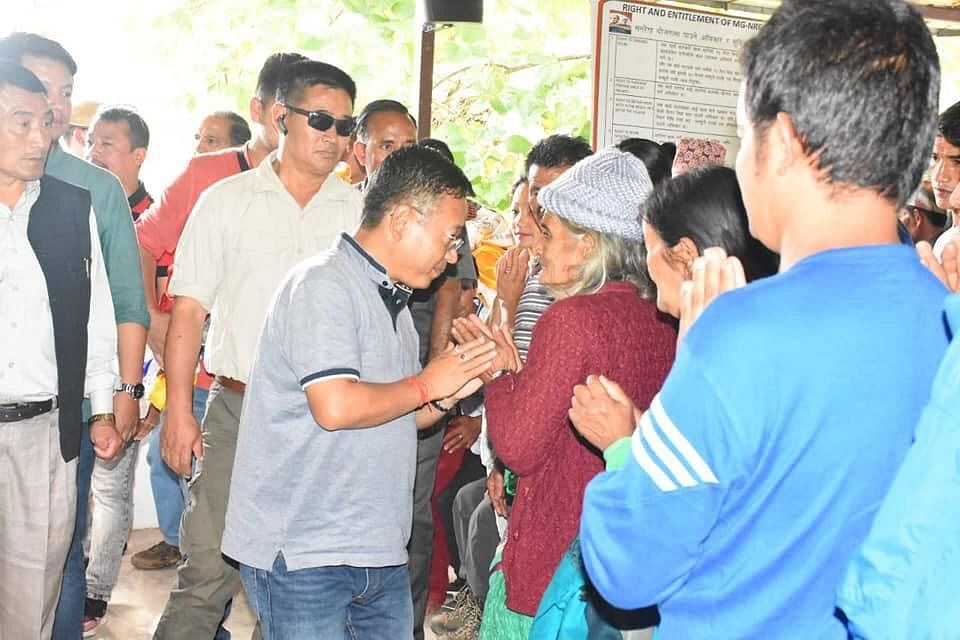 CM PS Golay meeting the victims of landslide in Yuksom, West Sikkim