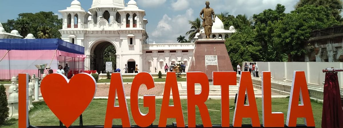 The signage installed in front of Ujjayanta Palace in Agartala, Tripura
