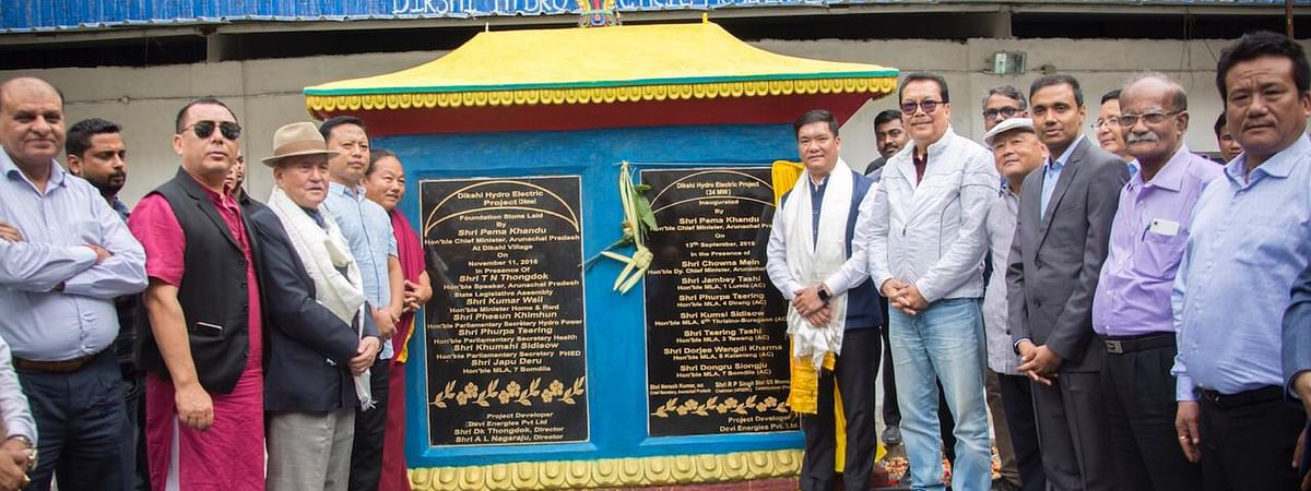 CM Pema Khandu along with other dignitaries during the unveiling of the inaugural slab of the project