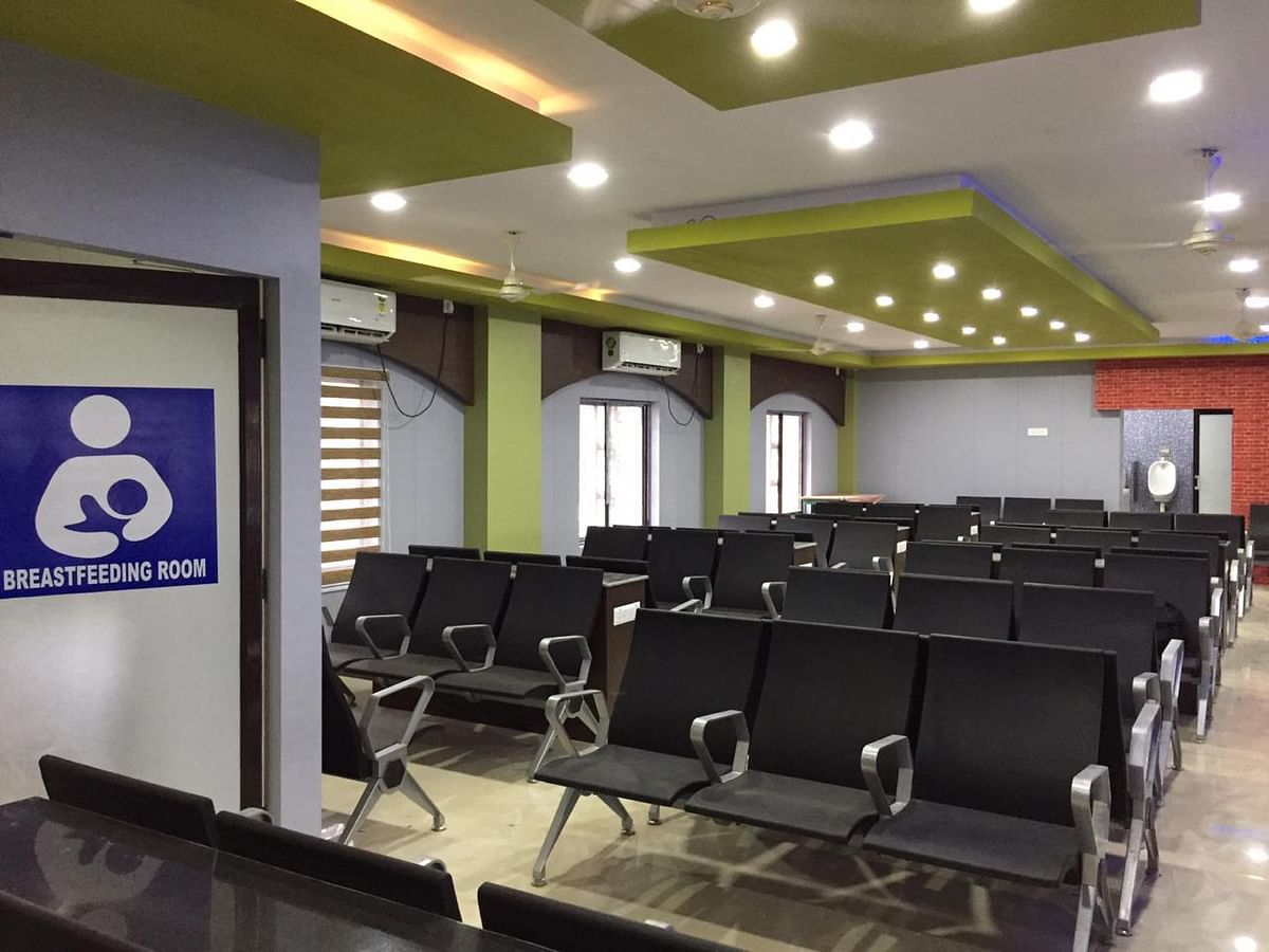 A first-class waiting room inside the Agartala railway station in Tripura