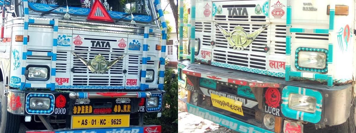 The two trucks that were seized by the Assam police and the forest department having the same registration number