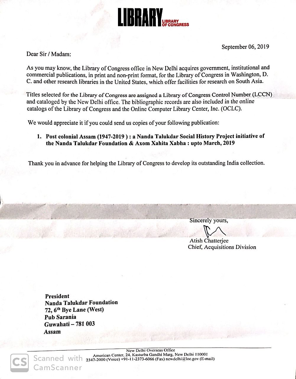 Copy of the letter from Library of Congress received by Assam journalist Mrinal Talukdar
