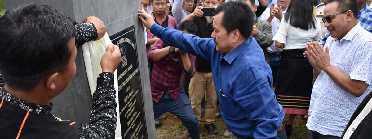 Tribal affairs & hills and fisheries minister N Kayisii laying the foundation stone of the Tribal Freedom Fighters' Museum at Makhel village in Manipur's Senapati on Friday