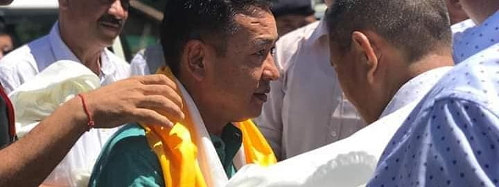 Sikkim chief minister PS Golay being welcomed in Geyzing, West Sikkim