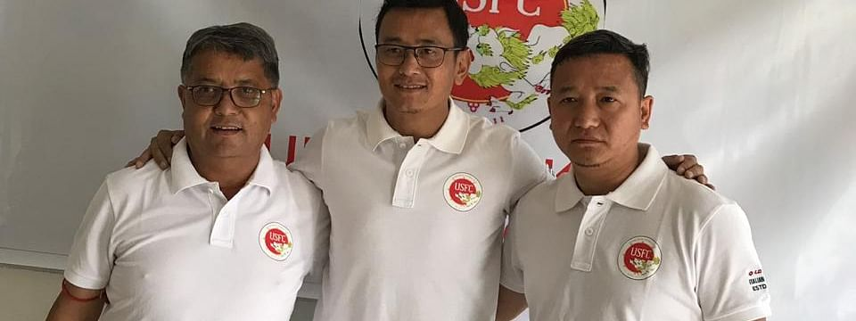 (From left) United Sikkim FC founders Arjun Rai, Bhaichung Bhutia and Sherap Lepcha