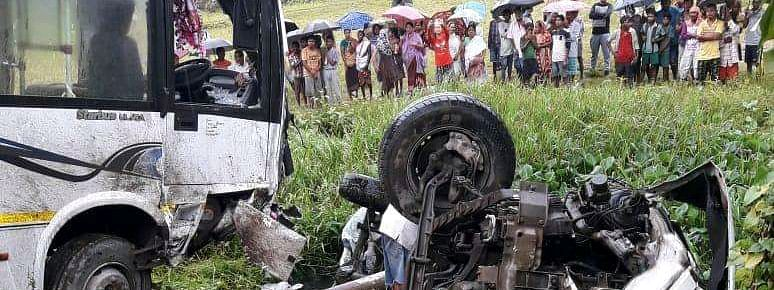 The two ill-fated vehicles involved in the accident in Assam's Sivasagar district on Monday