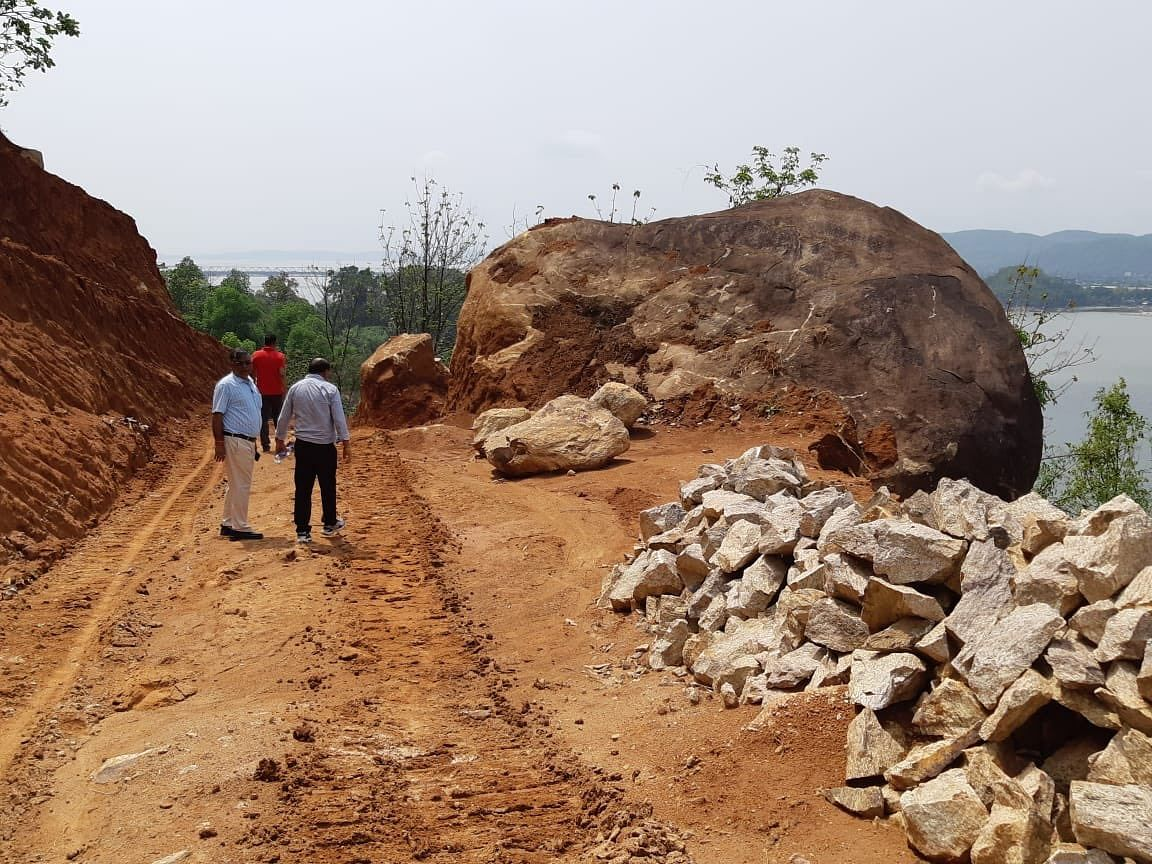 Construction of the alternative road to Kamakhya Temple in Guwahati, Assam started in January last year