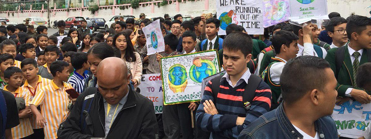 Students from nearly six schools from Shillong participated in the climate strike march in Meghalaya on Friday